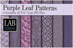 14 Purple Leaf Fabric Textures