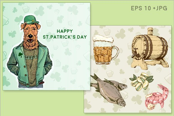 St.Patrick day. Beer & Irish Terrier - Illustrations