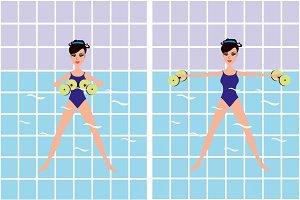Aqua aerobics in swimming pool