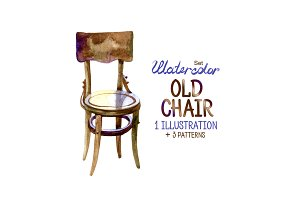 Watercolor old chair