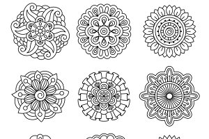 Linear doodle flower set