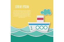 Paper ship. Vector background