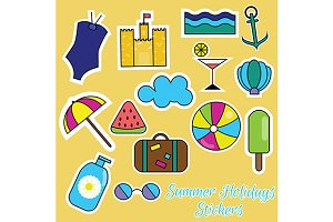 Summer holidays stickers.vector