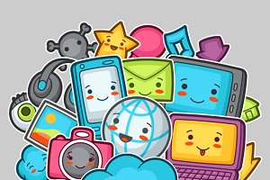 Kawaii gadgets social media items.