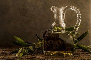 Virgin olive oil in luxurious cruet