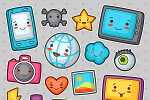 Kawaii gadgets social network items.