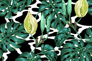 Patterns with monstera leaves.