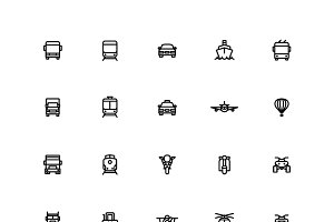 Outline Transportation Icons