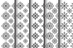 geometric flower shape pattern set