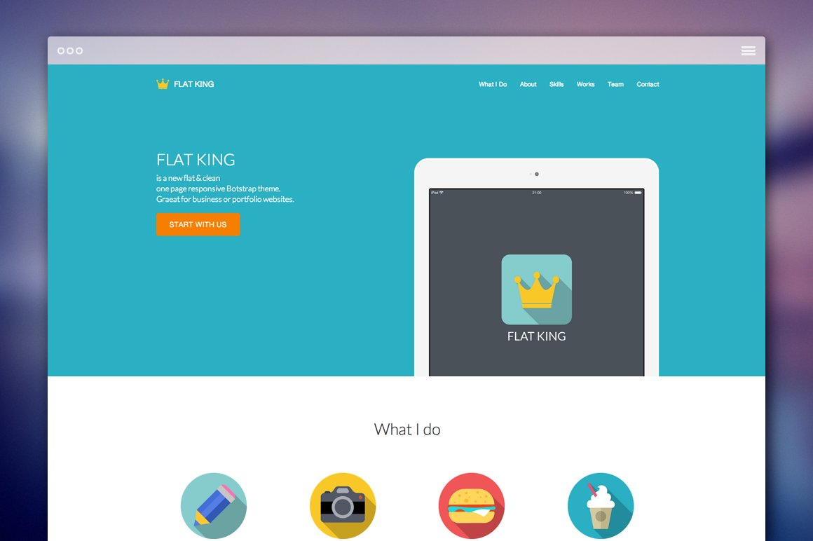 FLAT KING - One Page Theme ~ Bootstrap Themes ~ Creative Market