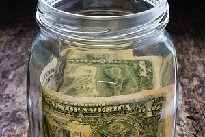 donations in a glass jar