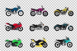 Set of Motorcycle Design Flat Style