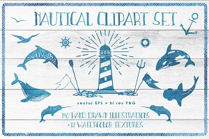 Ocean is calling: nautical clipart