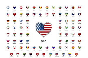 Heart shaped glossy countries flags