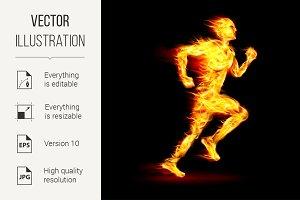 Fiery running man