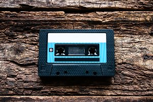 cassette on a wooden background