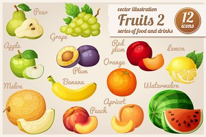 Set of cartoon food icons: Fruits-2