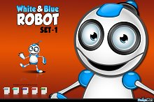 White & Blue Robot Character - Set 1