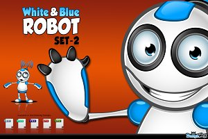 White & Blue Robot Character - Set 2