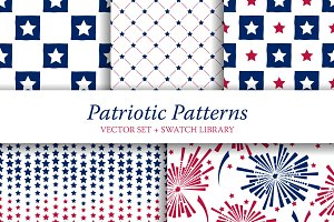 5 Patriotic Seamless Patterns