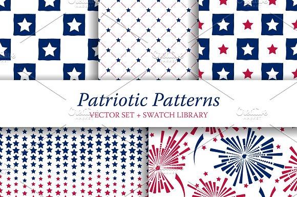 5 Patriotic Seamless Patterns