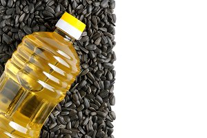 Plastic bottle of sunflower oil