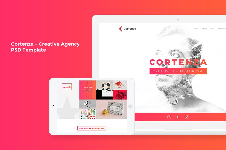 Cortenza - Creative Agency PSD in Landing Page Templates - product preview 8