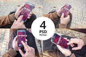 Smartphone PSD Mockups in Hands