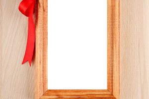 Photo frame with red bow