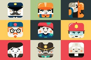 Set of flat profession icons