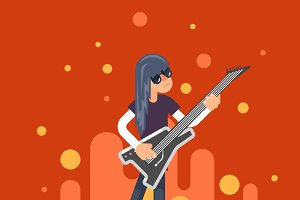 Electric Guitar Icon Guitarist