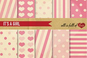 Baby Pink Background Paper Pack