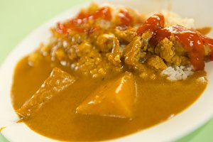 Rice and curry chicken