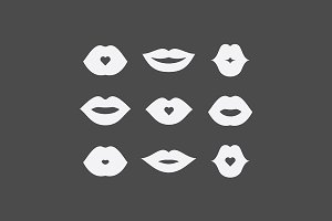 Women lips icon set