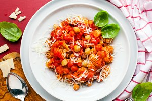 healthy Italian pasta with chickpeas