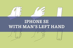 Man's left hand with iPhone SE