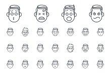 50 Emotion line icons