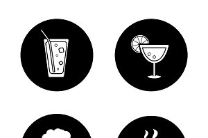 Drinks black icons set. Vector