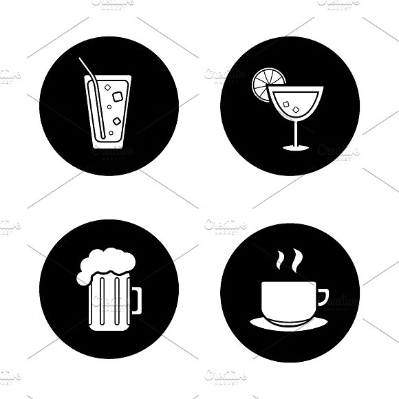 Drinks black icons set. Vector - Icons