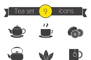 Tea silhouettes icons set. Vector