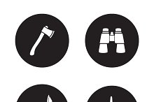 Survival equipment icons. Vector