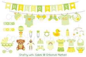 Yellow & Green Baby Clipart Set