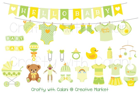 Yellow Amp Green Baby Clipart Set Illustrations Creative