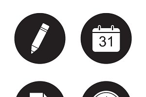 Time management icons set. Vector