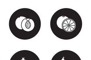 Fruits black icons set. Vector