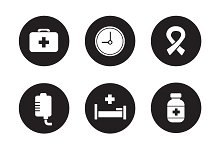 Hospital black icons set. Vector