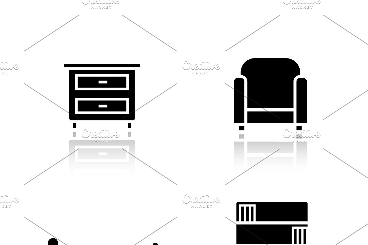 Bedroom Furniture Icons Vector Icons Creative Market