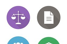 Lawyer flat design icons. Vector