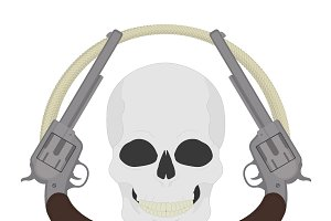 Skull with revolvers icon. Vector