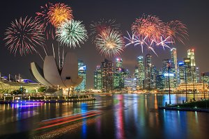 Singapore Marina bay and fireworks